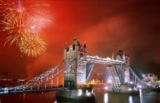tower bridge london with spectacular fireworks display
