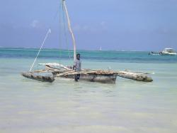 traditional sailing boat on zanzibar beach